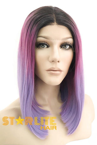 "24"" Purple Dark Roots Lace Front Synthetic Wig 20212"