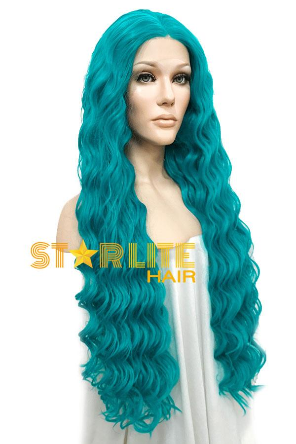 "30"" Blue Spiral Lace Front Synthetic Wig 10282 - StarLite Hair"