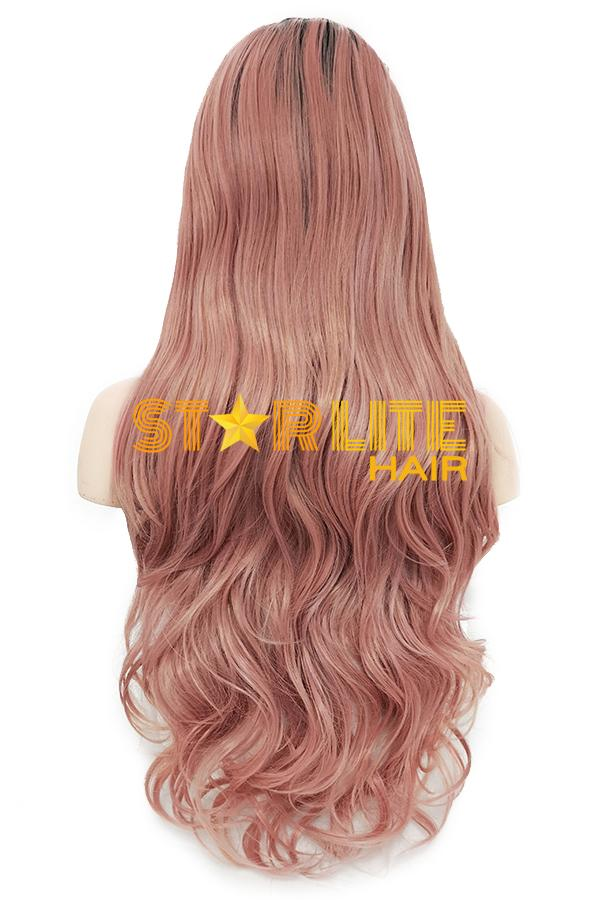 "24"" Pink With Dark Roots Lace Front Synthetic Wig 10283 - StarLite Hair"