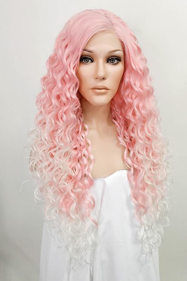 "24"" Pink Blonde Ombre Lace Front Synthetic Wig 20296"