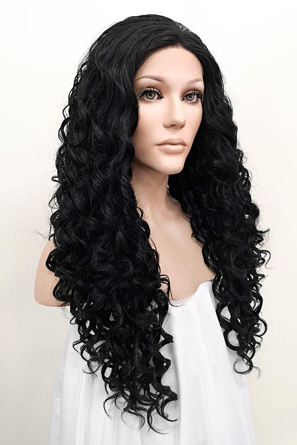 "26"" Jet Black Lace Front Synthetic Hair Wig 20086 - StarLite Hair"