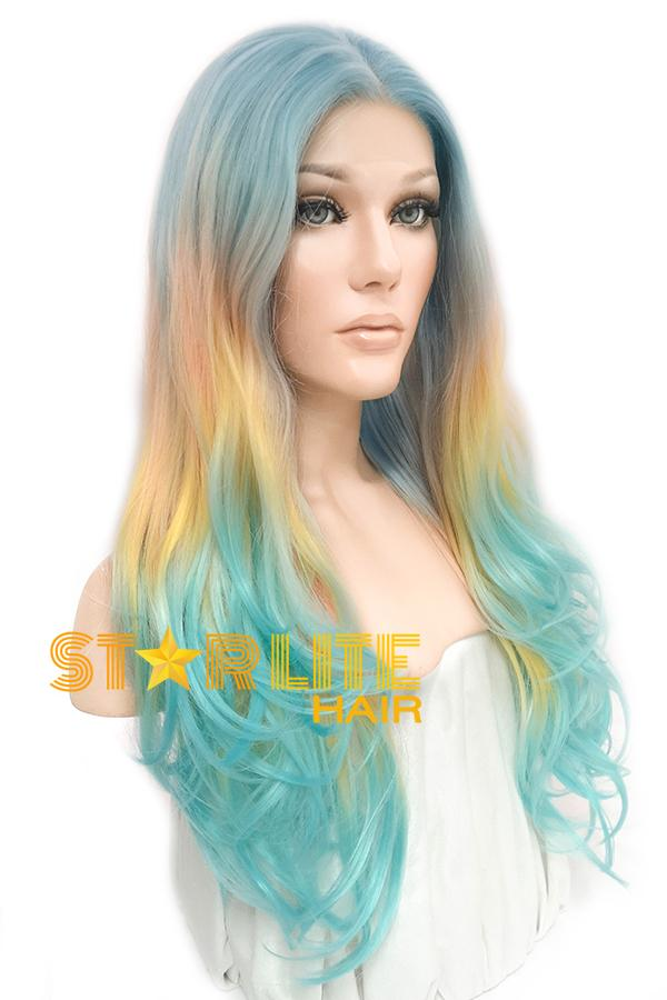 "26"" Light Blue Pink Yellow Green Ombre Lace Front Wig 10280 - StarLite Hair"