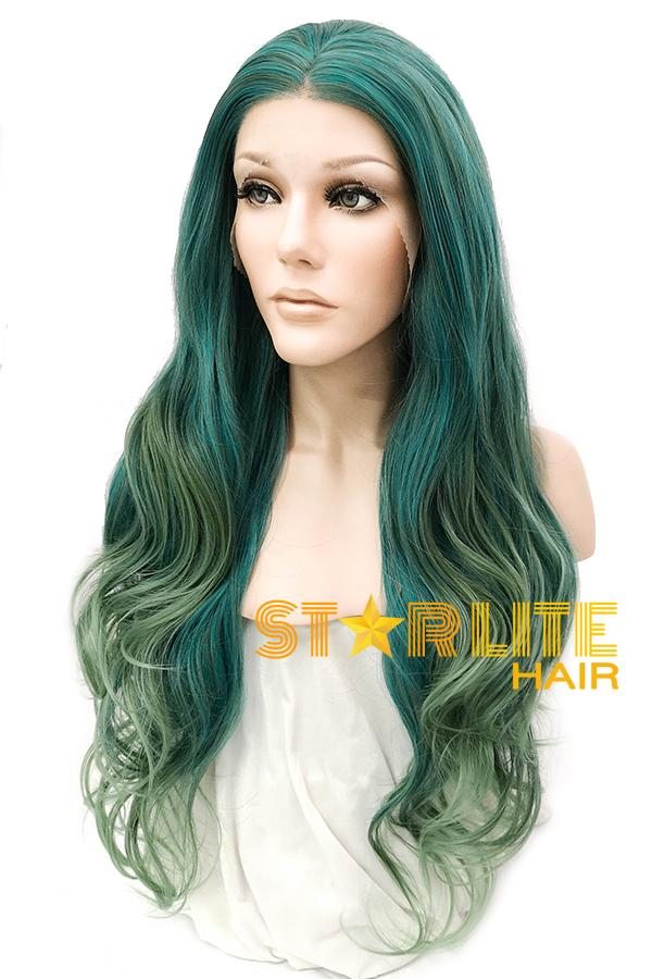 "24"" Mixed Green Lace Front Synthetic Wig 10281 - StarLite Hair"