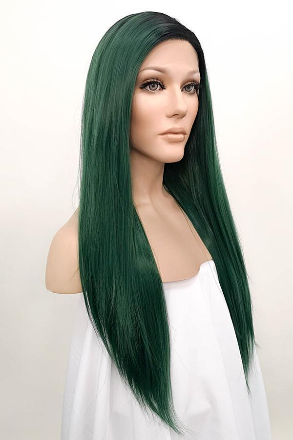 "26"" Green With Dark Roots Lace Front Wig 10288 - StarLite Hair"