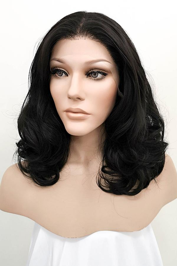 "16"" Natural Black Lace Front Synthetic Wig 20105 - StarLite Hair"