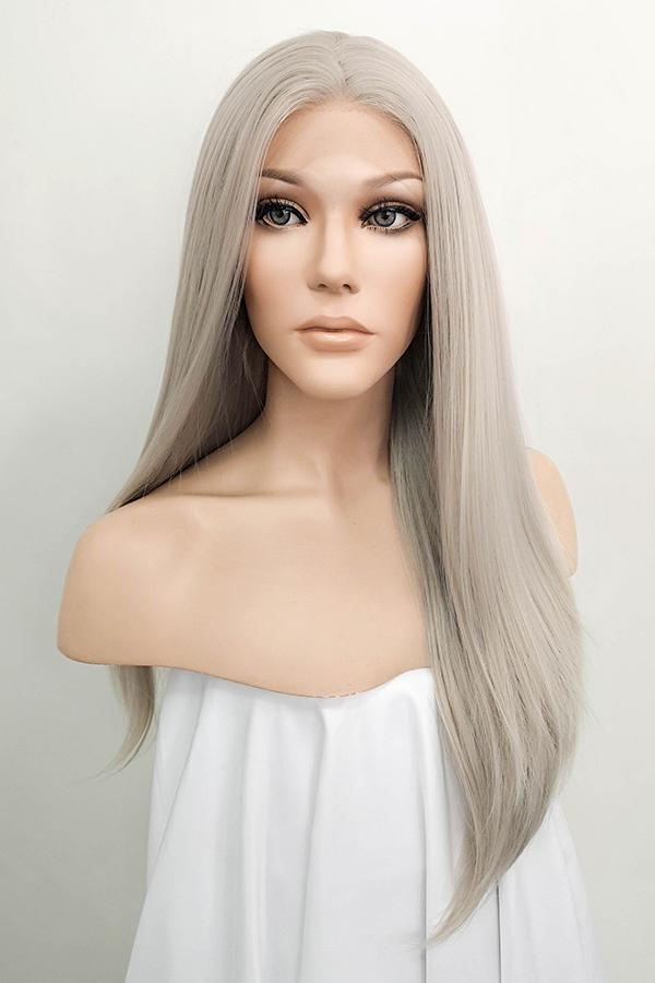 "24"" Grey Blonde Lace Front Synthetic Wig 20115"