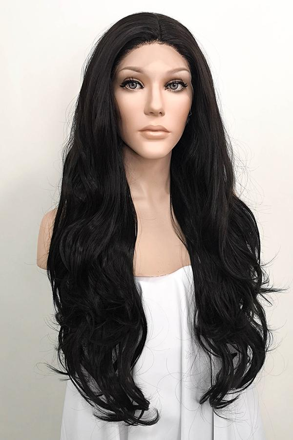 "26"" Natural Black Lace Front Synthetic Katy Perry's Wig 20118"