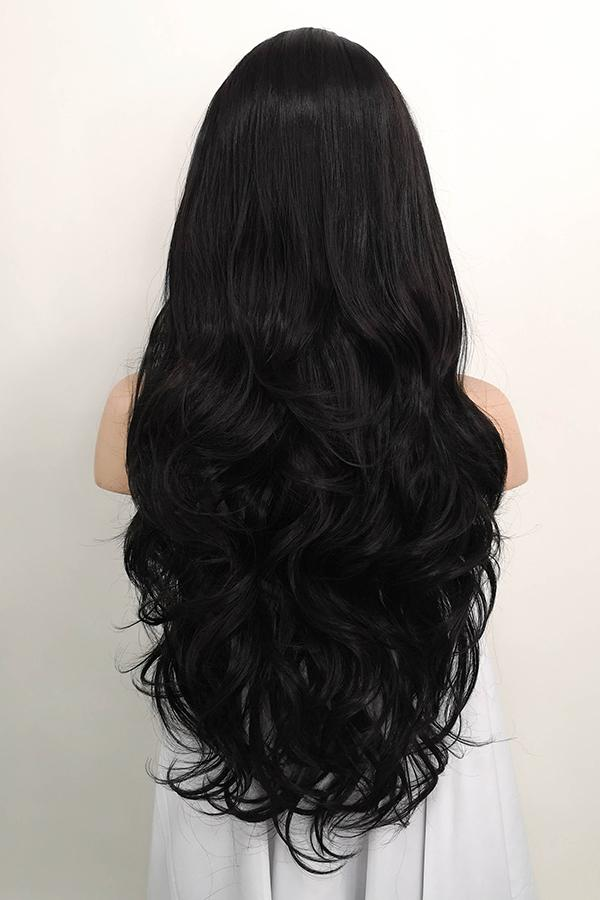 "26"" Natural Black Lace Front Synthetic Wig 20118"