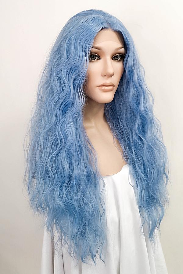 "28"" Blue Lace Front Synthetic Hair Wig 10290"