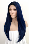 "24"" Dark Blue Lace Front Synthetic Hair Wig 10291"