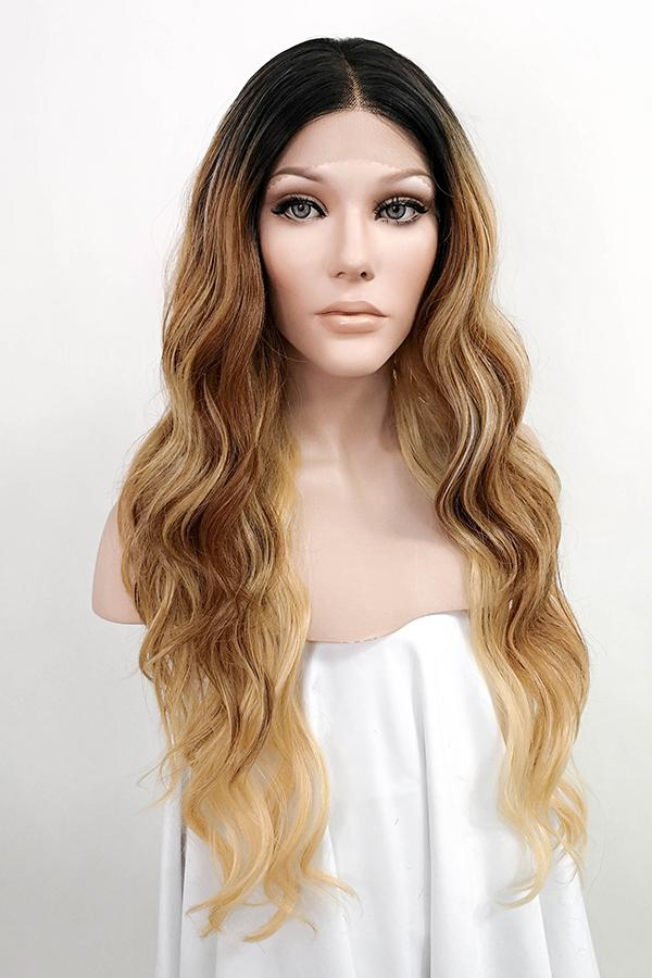 "26"" Blonde Brown with Dark Roots Lace Front Synthetic Wig 10294"