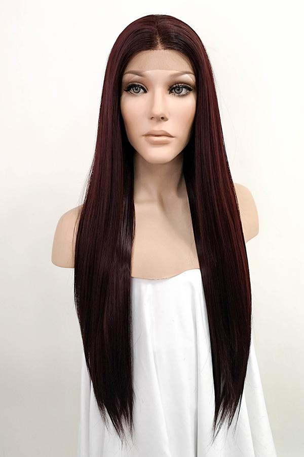 "28"" Dark Burgundy Lace Front Synthetic Hair Wig 10295"