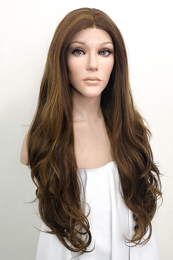 "26"" Mixed Brown Lace Front Synthetic Wig 20147 Kate Middleton Inspired"