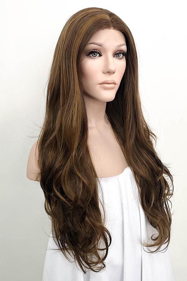"26"" Mixed Brown Lace Front Synthetic Wig 20147 Miley Cyrus Inspired"