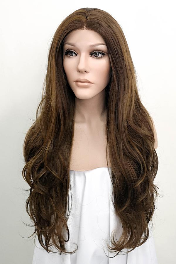 "26"" Mixed Brown Lace Front Synthetic Wig 20147 Selena Gomez Inspired"