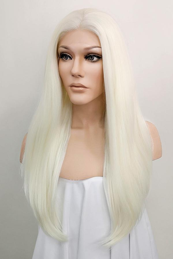 "24"" White Platinum Blonde Lace Front Synthetic Wig 20152"