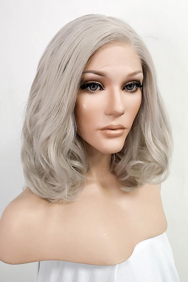 "16"" Ash Grey Lace Front Synthetic Hair Wig 20177"