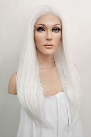 "42"" White Yaki Lace Front Synthetic Wig 10054"
