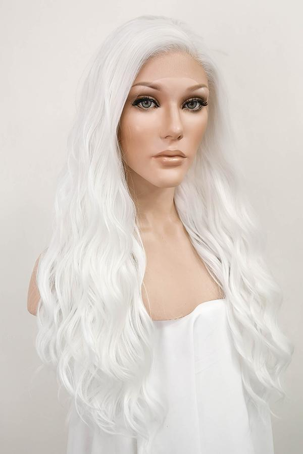 "24"" White Lace Front Synthetic Hair Wig 20231"