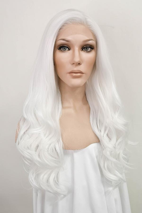 "24"" White Lace Front Synthetic Hair Wig 20232"
