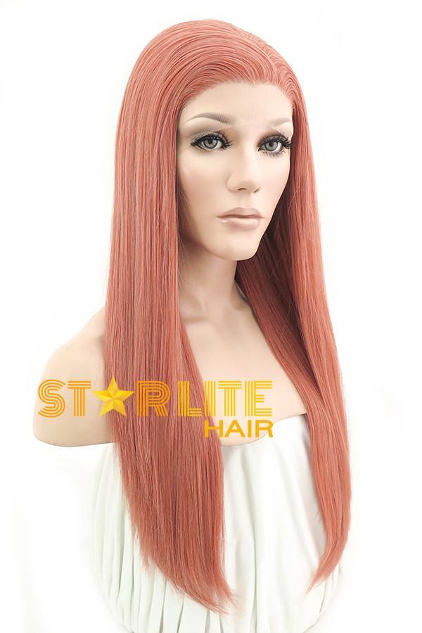 "24"" Orange Pink Lace Front Synthetic Wig 20262 - StarLite Hair"