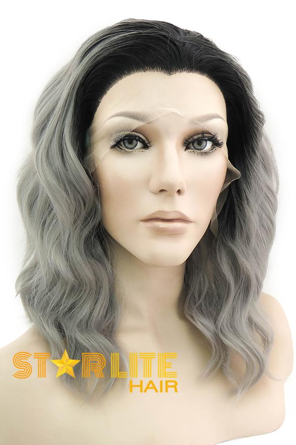 "14"" Greyish Purple Black Roots Lace Front Wig 20307"