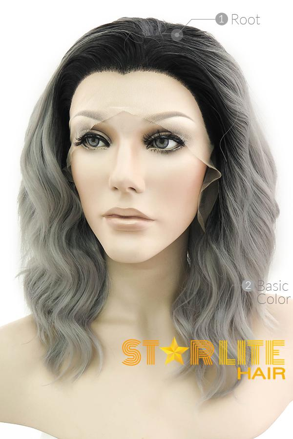 "14"" Grey With Dark Roots Lace Front Wig 20307"