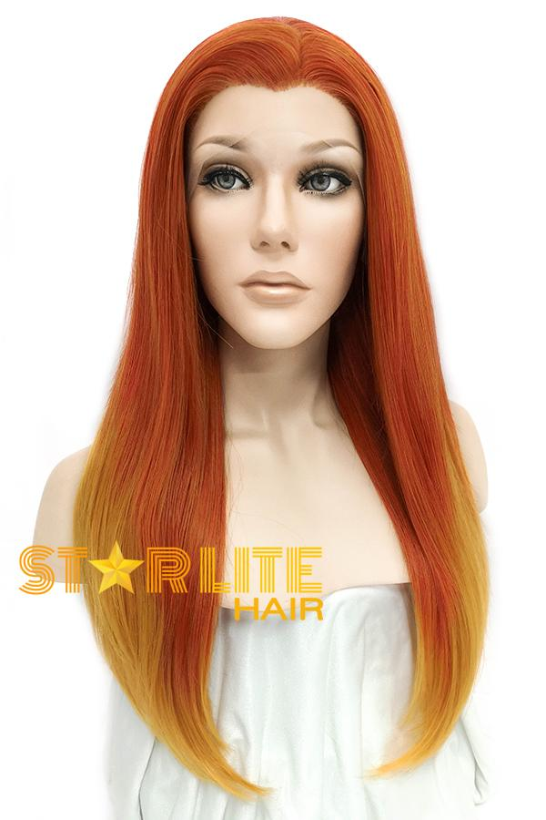 "24"" Two Tone Orange Lace Front Synthetic Wig 20265 - StarLite Hair"