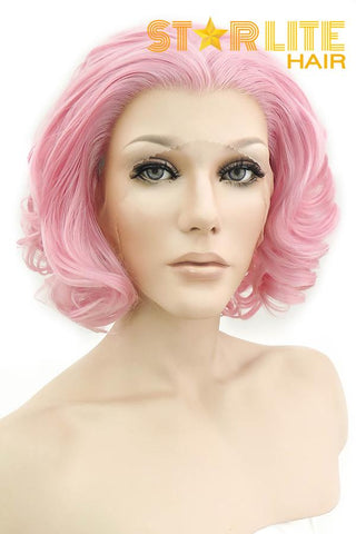 "14"" Peach Pink With Dark Roots Lace Front Wig 10206"