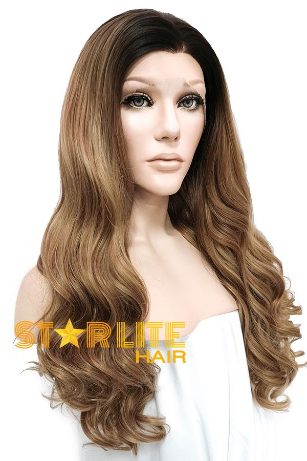 "24"" Brown With Dark Roots Lace Front Wig 20323 - StarLite Hair"