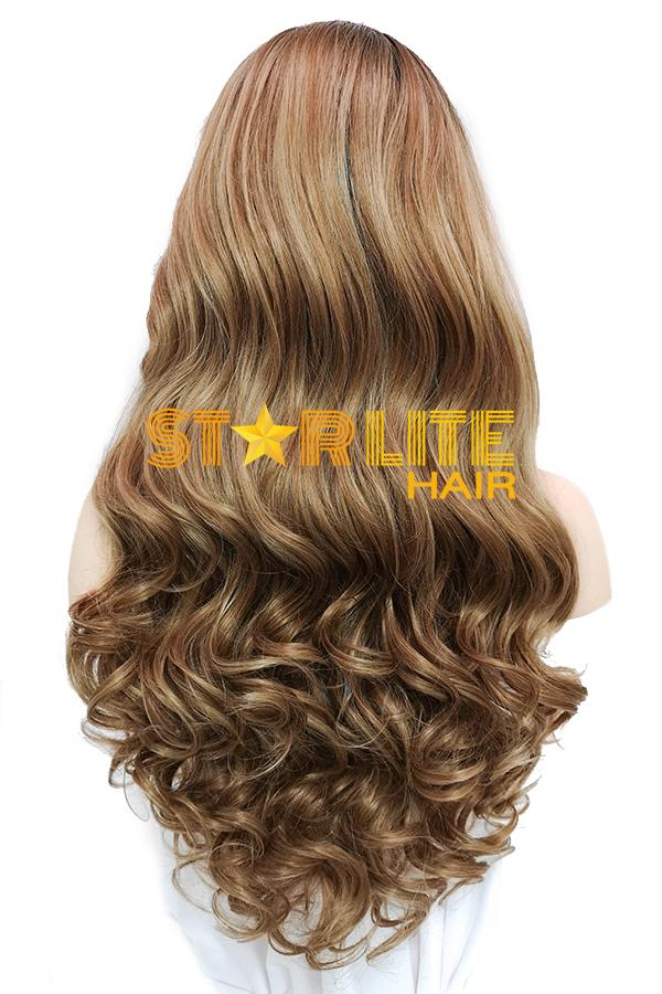 "24"" Brown With Dark Roots Lace Front Synthetic Wig 20323 - StarLite Hair"