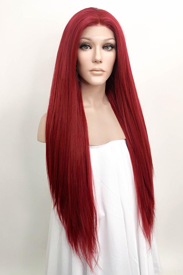"28"" Dark Red Yaki Lace Front Synthetic Wig 10010 Rihanna Inspired"