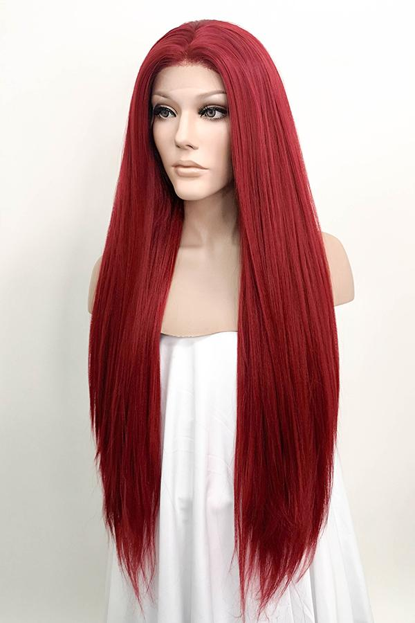 "28"" Dark Red Yaki Lace Front Synthetic Wig 10010"
