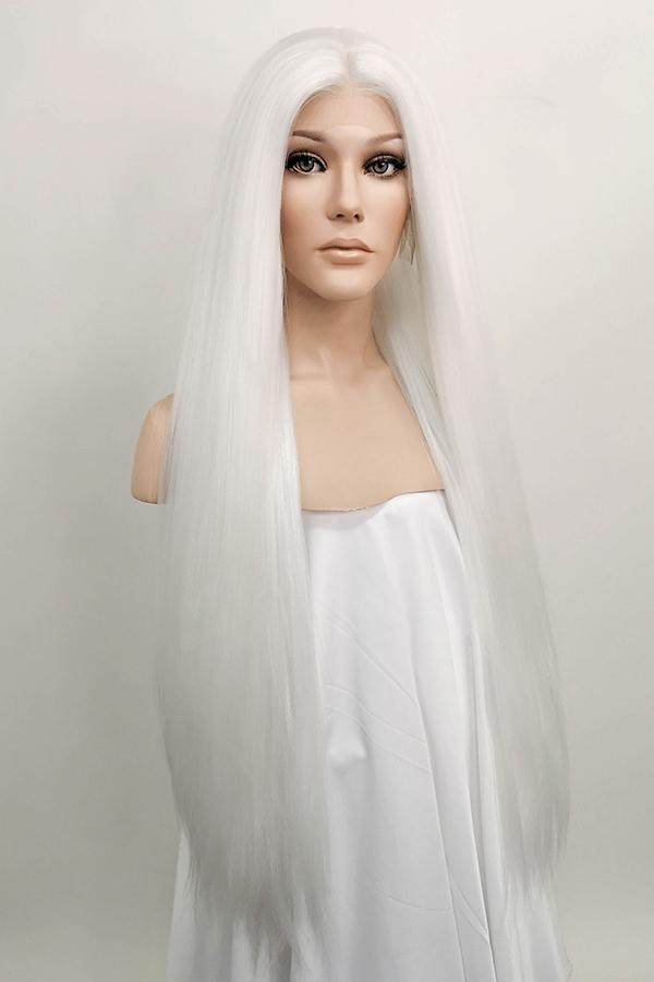 "30"" Pure White Yaki Lace Front Synthetic Wig 10011 - StarLite Hair"