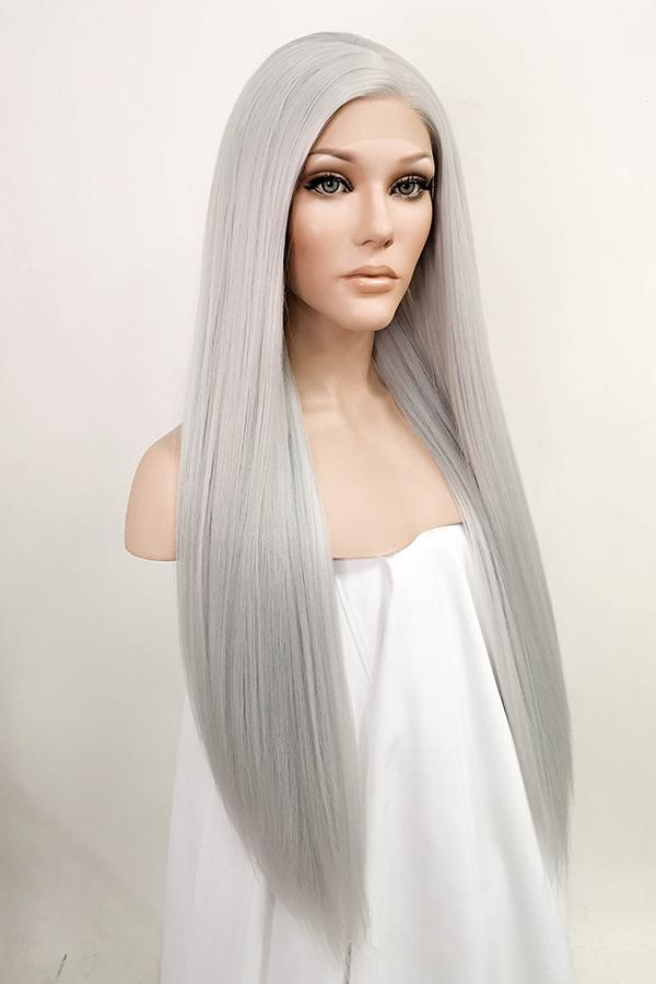 "30"" Silver Grey Yaki Lace Front Synthetic Wig 10017"