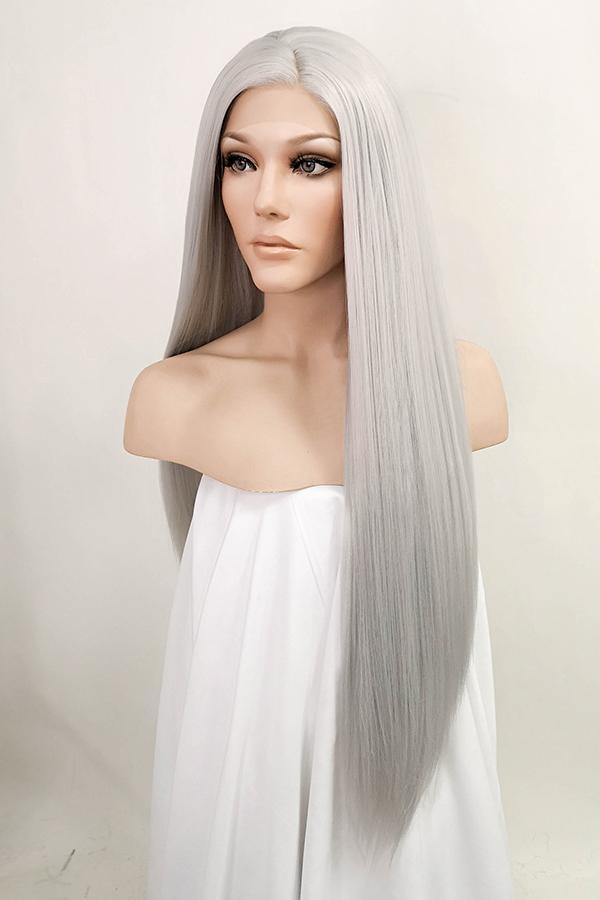 "28"" Silver Grey Yaki Lace Front Synthetic Wig 10017 - StarLite Hair"