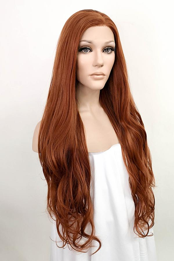 "28"" Reddish Brown Lace Front Synthetic Wig 10021"