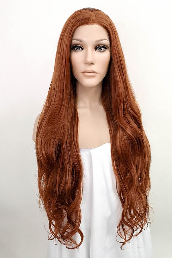 "28"" Reddish Brown Lace Front Synthetic Wig 10021 - StarLite Hair"