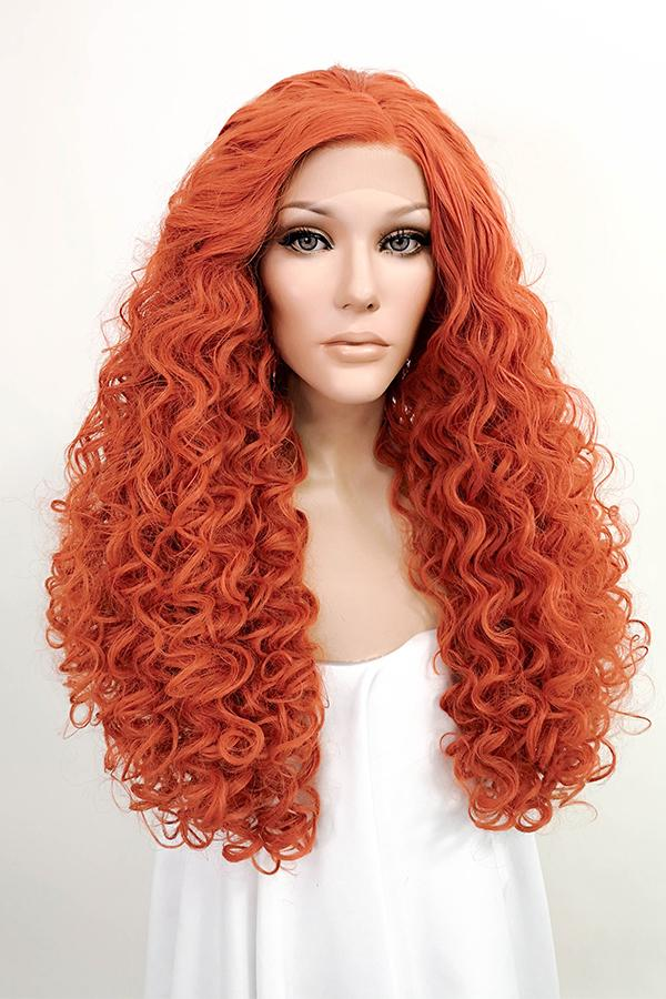 "24"" Reddish Orange Lace Front Synthetic Wig 10156"