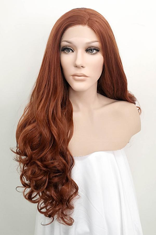 "28"" Auburn Brown Lace Front Synthetic Wig 10031"