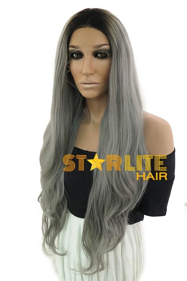 "30"" Grey Dark Roots Lace Front Synthetic Wig 10254 - StarLite Hair"