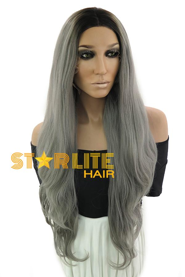 "28"" Grey Dark Roots Lace Front Synthetic Wig 10254 - StarLite Hair"