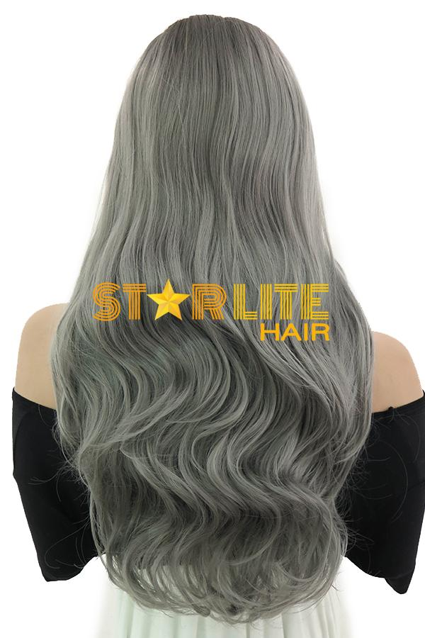 "20"" Grey Dark Roots Lace Front Synthetic Wig 10253 - StarLite Hair"