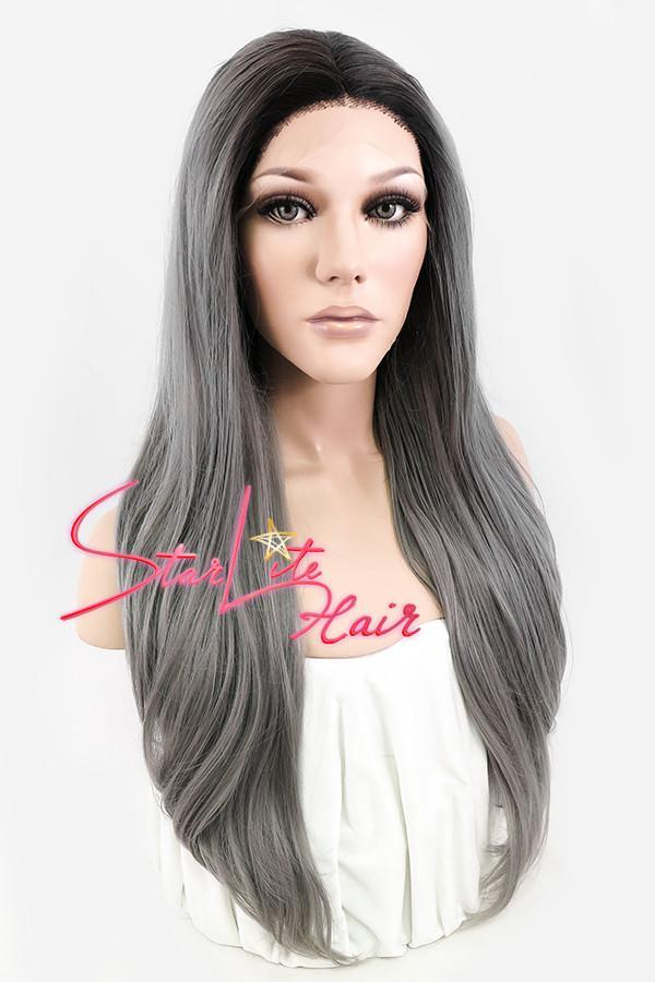 "22"" Grey Dark Roots Lace Front Synthetic Wig 10050 - StarLite Hair"