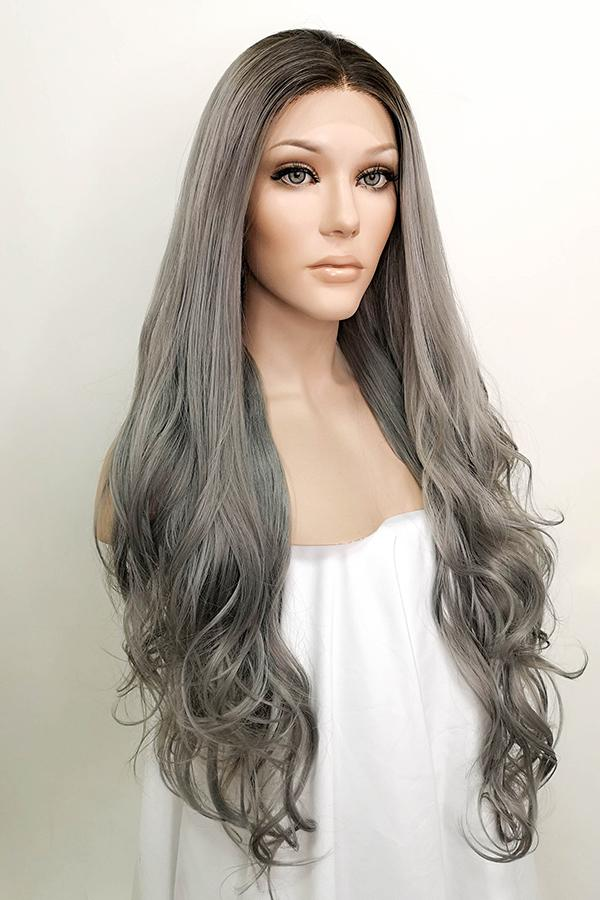 "30"" Grey Dark Roots Lace Front Synthetic Wig 10051"