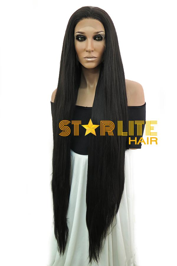 "45""Natural Black Yaki Lace Front Synthetic Wig 10268 - StarLite Hair"