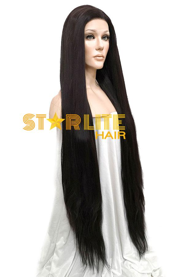"45"" Natural Black Yaki Lace Front Synthetic Wig 10053 - StarLite Hair"
