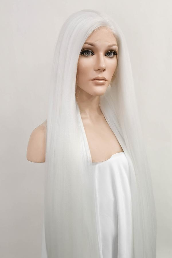 "39"" White Yaki Lace Front Synthetic Wig 10054 - StarLite Hair"