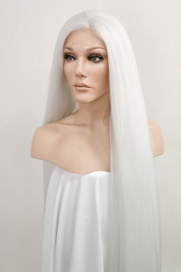 "39"" White Yaki Lace Front Synthetic Wig 10054"