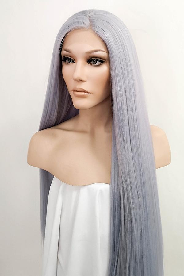 "45"" Purplish Grey Yaki Lace Front Synthetic Wig 10055 - StarLite Hair"